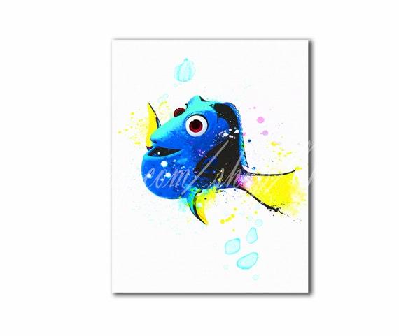 Búsqueda de Dory imprimir acuarela Poster de Dory Disney | Etsy