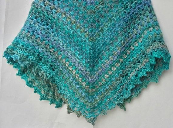 Free Shipping! Crochet handmade triangular shawl border wrap around  triangle scarf border Color Tidal Red Heart Unforgetable