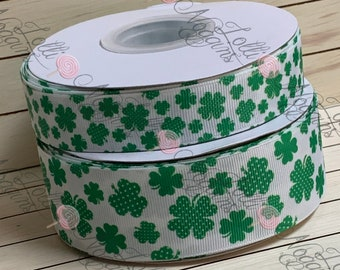 """Shamrock / 4 leaf clover / St. Patrick's Day    USDR 7/8"""" and 1.5"""" ribbon   Coordinated grosgrain set for bows and crafts"""