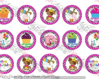 Birthday / Milestone / cake/ balloons    1 inch Digital Bottle Cap file