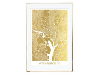 US City Map, Gold Foil Map, Custom Line Map, Office Decor, Anniversary Gift, Bespoke Gift, Housewarming Gift, Wedding Gift, Birthday Gift