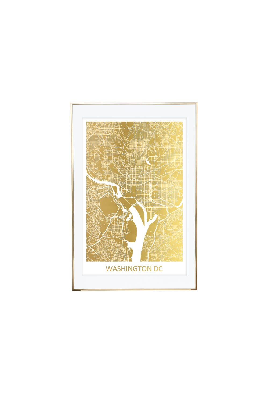 Washington DC Gold Foil Map City Map Custom Map Print Map | Etsy
