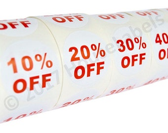 "1 Set (5 Rolls) of Discount Labels ""10-50% OFF"" (500 lbls/ea, 2.5"") BPA Free"