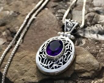 Silver Amethyst Pendant – Oval Purple Stone Pendant – Dark Amethyst Jewelry - Filigree Pendant - Italian Silver Pendant – WhistlingGypsyVTG