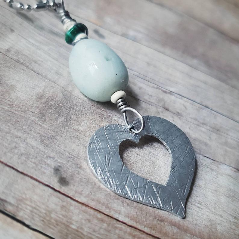 Hippie Jewelry Heart Necklace Raw Amazonite Pendant Boho Layering Heart Necklace Reiki Jewelry Heart Jewelry Long Necklace