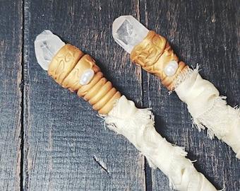 Boho Bride Hair Sticks, Long Bamboo Chopsticks Bridal Hair Pins, Crystal Quartz Hair Accessory, Thick Hair Accessory Photo Prop Hair Jewelry