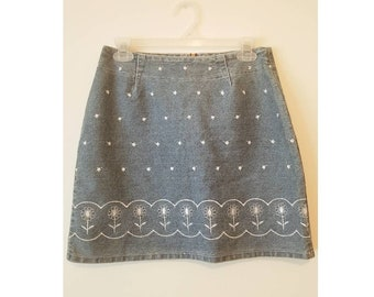 Denim floral mini skirt