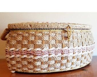 Vintage wicker sewing basket