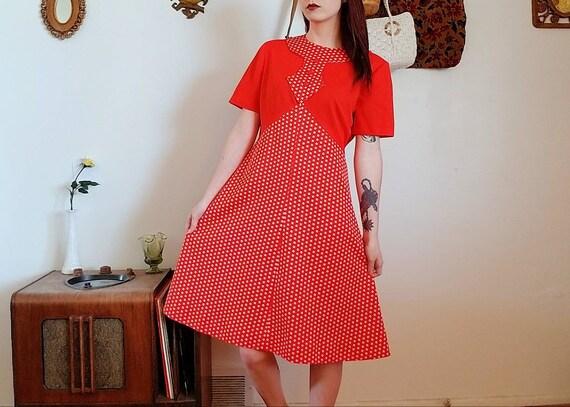 Vintage 1960's Mod Polka Dot Mini Dress - image 1