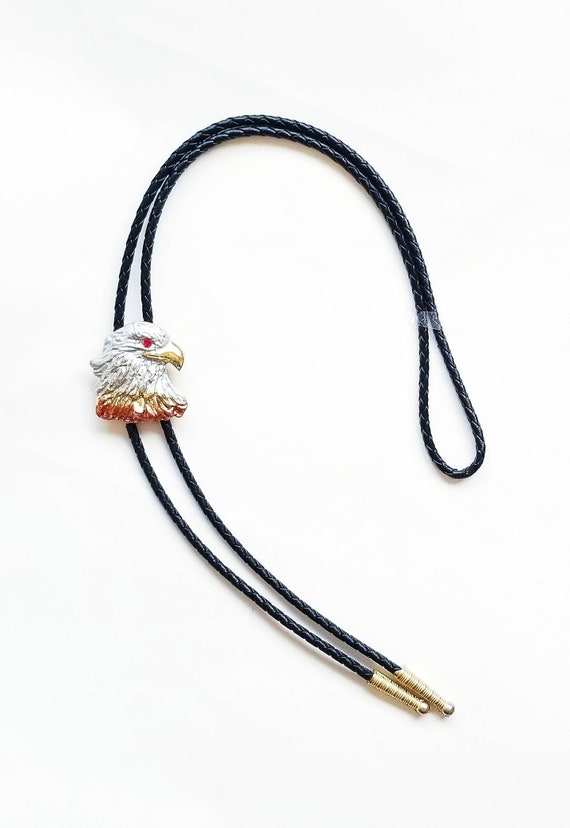 Vintage 1980's Gold Plated Eagle Leather Bolo Tie