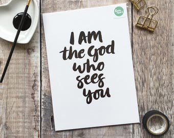 A5 Fine Art Print 'I AM the God who sees you' - from an original brush-lettered painting by Karen Lindsay