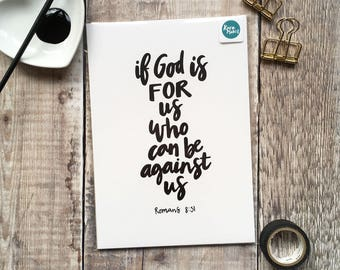 A5 Fine Art Print 'If God is for us who can be against us' Romans 8v31 from an original brush-lettered painting by Karen Lindsay