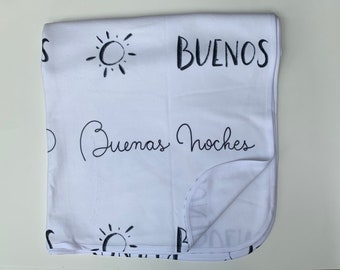 Baby blanket made in USA  || hand-lettering Calligraphy fabric español spanish black and white monoline