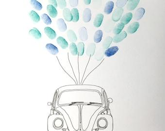 wedding VW beetle fingerprint guestbook || fusca escarabajo bug balloons printable alternative guestbook ||digital file only
