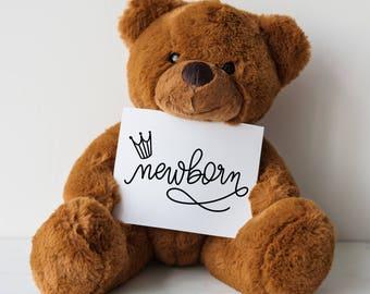 PRINTABLE Modern Calligraphy Style  Baby Milestones Cards monoline - newborn photo-shoot baby photo props