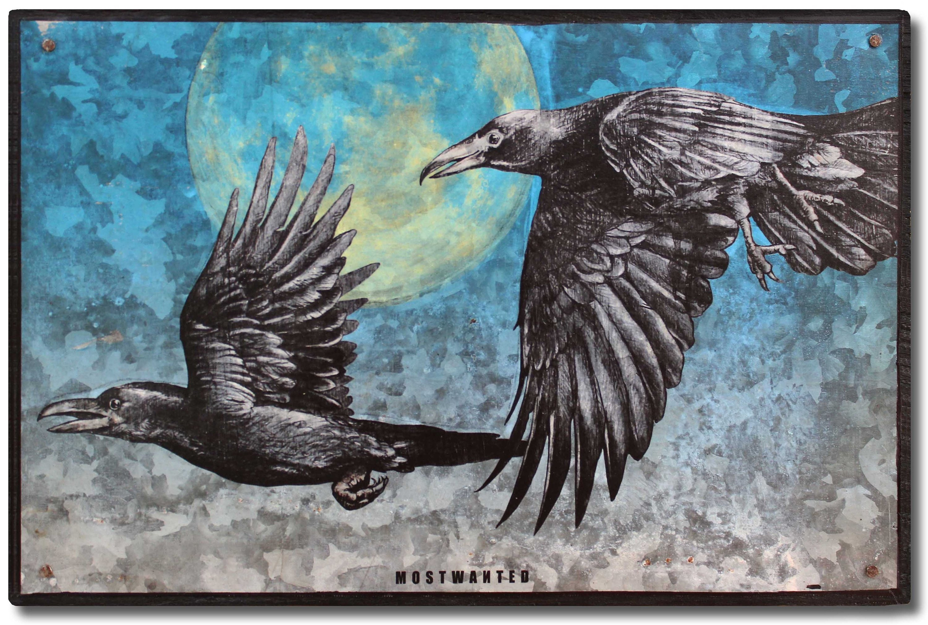 Night crows full moon colored pencil drawing artwork transfer on metal old barn tin 10 25x6 75 inches blue black