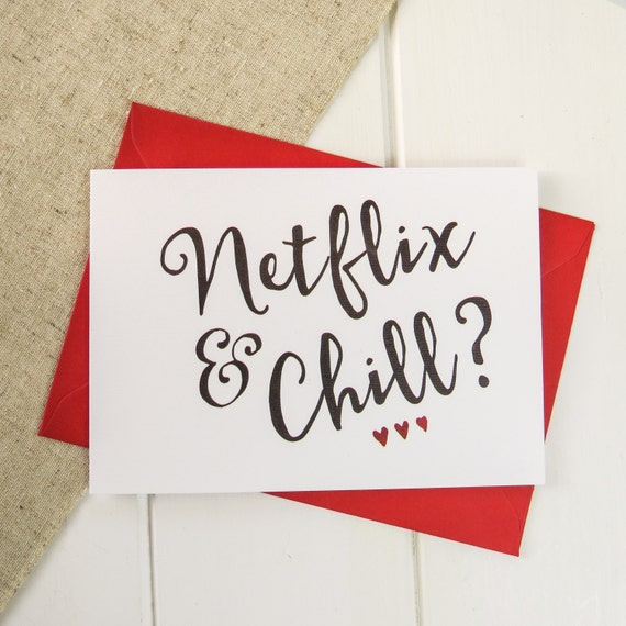 Netflix And Chill Valentines Card Funny Valentine S Day Etsy