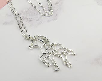Geometric Unicorn Necklace - Silver Unicorn Necklace - Gift for Friend - Unicorn Jewellery - Gift for Her - Charm Necklace - Unicorn Gift