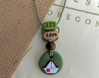 New Hope Inspirational Boho Necklace, Valentines Day Gift, Valentines Day Gift for her, Zen Necklace, Inspirational Quote