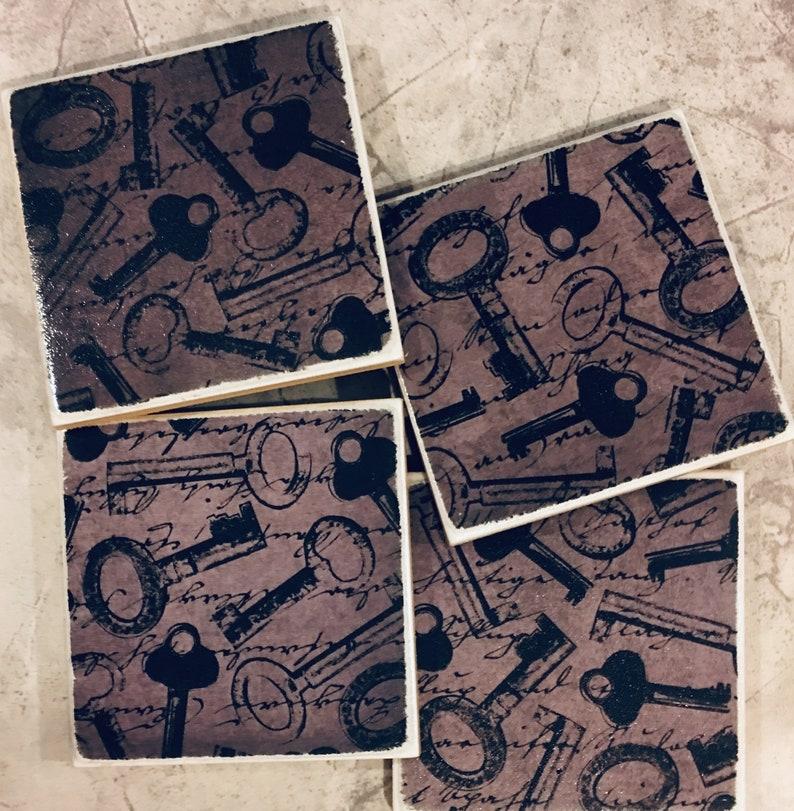 Table Coasters Drink Coasters New Home Coasters Coaster Vintage Key Coasters Housewarming Gift Coasters Old Keys Ceramic Coasters