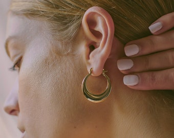d1829e1f2 18k Gold Hoop Earrings, Gold Filled Earrings, minimal style hoops, minimal  jewelry, versatile earrings, classy, boho chic, hoop orb earrings
