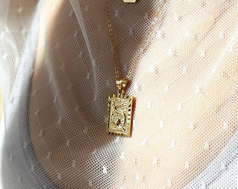 Rectangle pendant etsy chinese dragon pendant necklace 18k gold filled medallion thick square rectangle pendant layering statement jewelry tag charm necklace mozeypictures Gallery
