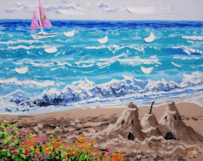 Surf art beach decor original painting canvas art palette image 0