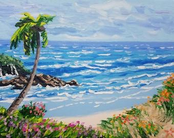 Original artwork oil painting canvas art beach decor small painting tropical decor seascape painting seascape textured wall art Ryan Kimba