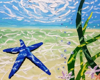 Palette knife painting / oil painting / original artwork / home decor / canvas art / animal art / marine life painting / textured wall art