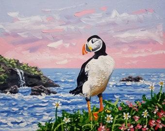 Seascape painting / bird art / surf decor / coastal wall art / canvas art / ocean painting / original painting / seascape