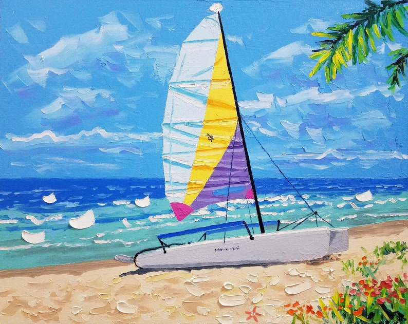Beach decor  sailboat art  oil painting  canvas art  image 0