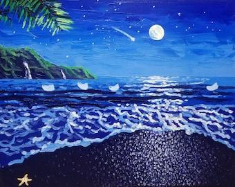 Textured wall art / oil painting / moon art / blue / stars / surf decor / beach decor / beach / seascape painting / original artwork