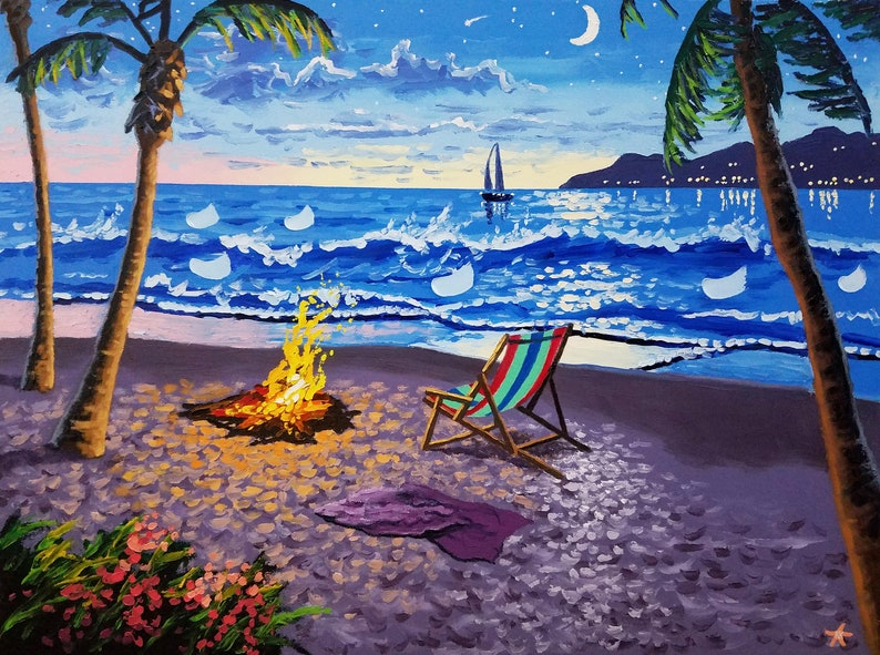 Tropical painting moon art surf decor large oil painting image 0