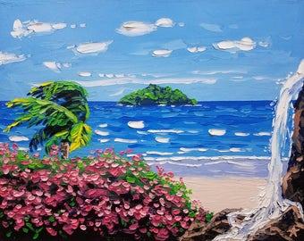 Seascape painting / tropical / flowers / textured wall art / palette knife painting / home decor / coastal wall art / pink / blue / beach