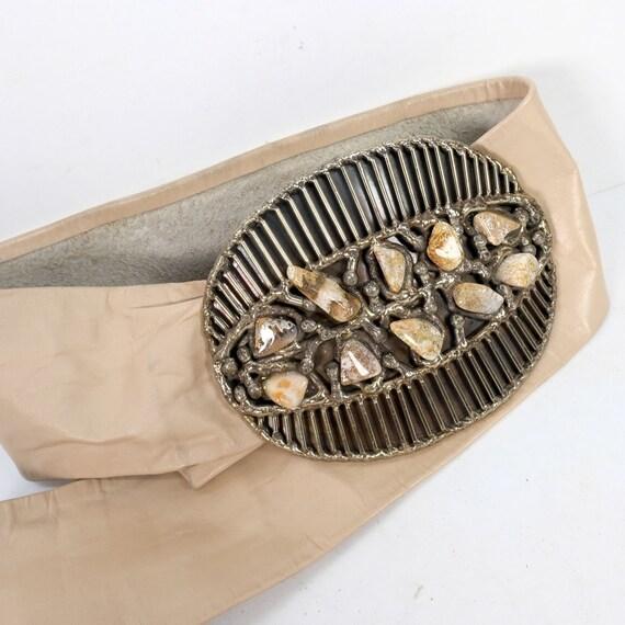 Vintage Semi-Precious Stone Statement Leather Belt - image 1