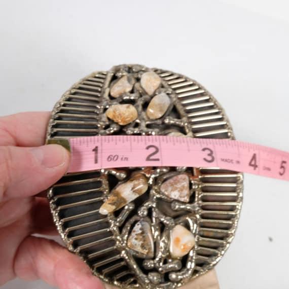 Vintage Semi-Precious Stone Statement Leather Belt - image 7