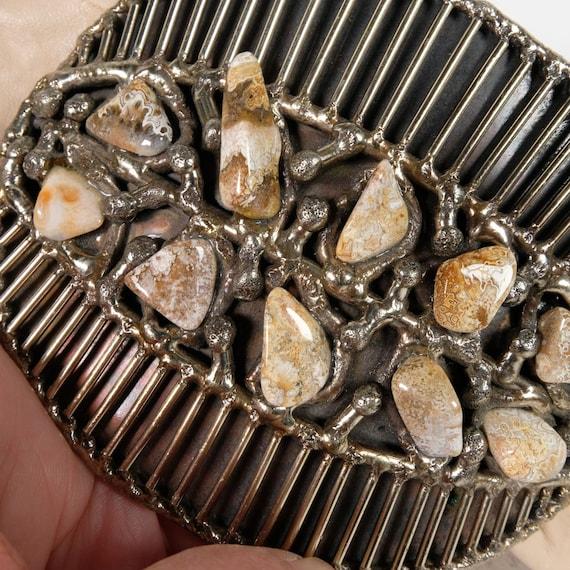 Vintage Semi-Precious Stone Statement Leather Belt - image 3