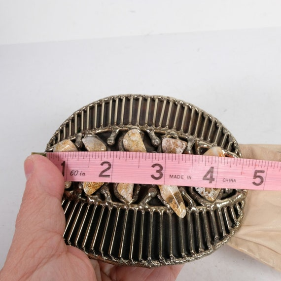 Vintage Semi-Precious Stone Statement Leather Belt - image 6