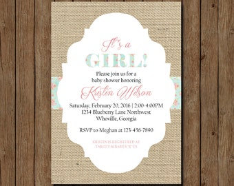 Shabby Chic Baby Shower Invitation, Rustic Baby Shower Invitation, Burlap Baby Shower Invitation, Printable Baby Shower Invite