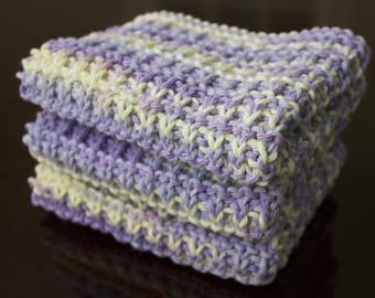 Hand Knit Dishcloth Set of 3 - Hand Knit Washcloth - Spring Swirl