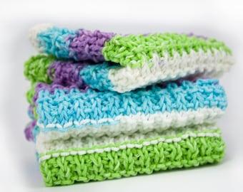 Hand Knit Dishcloth Set of 3 - Hand Knit Washcloth - Sweet Pea Stripe