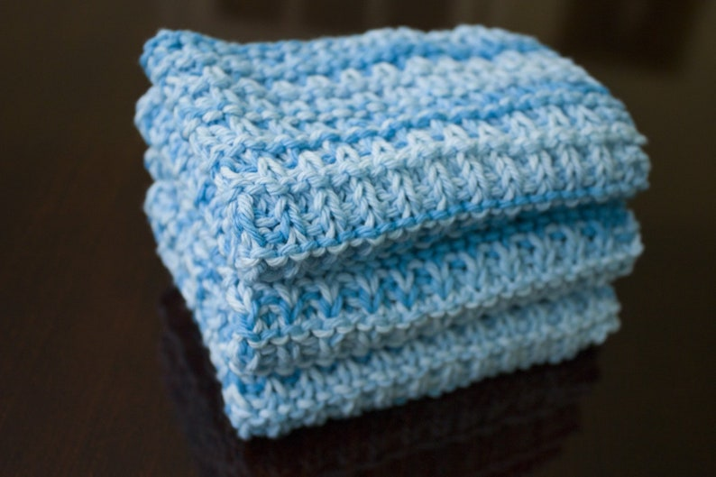 Hand Knit Dishcloth Set of 3  Hand Knit Washcloth  Swimming image 0