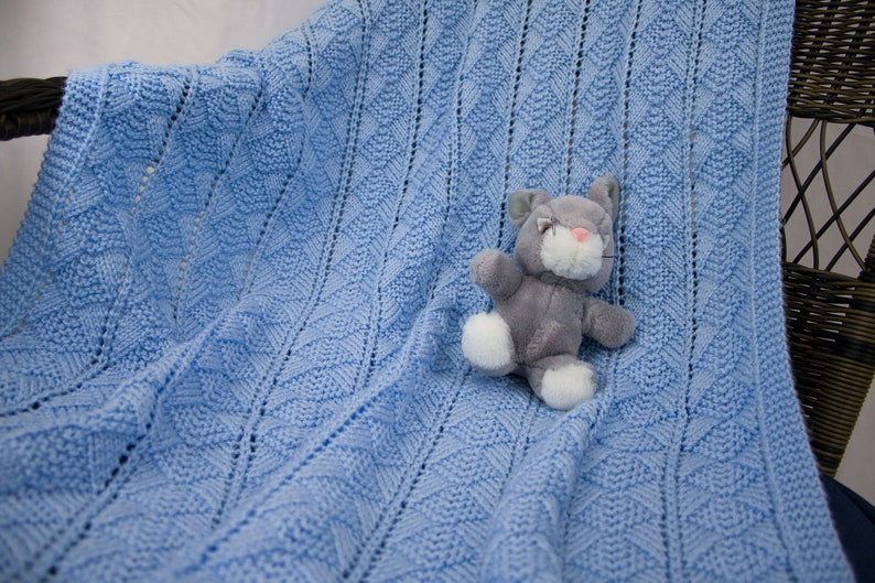 Hand Knit Baby Blanket  Baby Afghan Blue