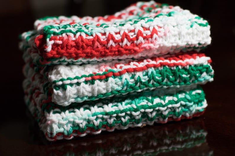 Hand Knit Dishcloth Set of 3  Hand Knit Washcloth  Christmas image 0