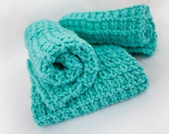 Hand Knit Dishcloth Set of 3 - Hand Knit Washcloth - Sea Breeze