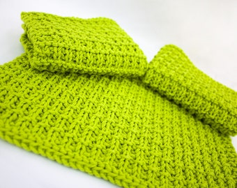 Hand Knit Dishcloth Set of 3 - Hand Knit Washcloth - Hot Lime