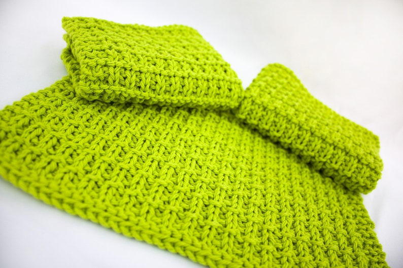 Hand Knit Dishcloth Set of 3  Hand Knit Washcloth  Hot Lime image 0