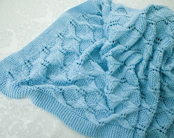 Hand Knit Baby Blanket - Baby Afghan
