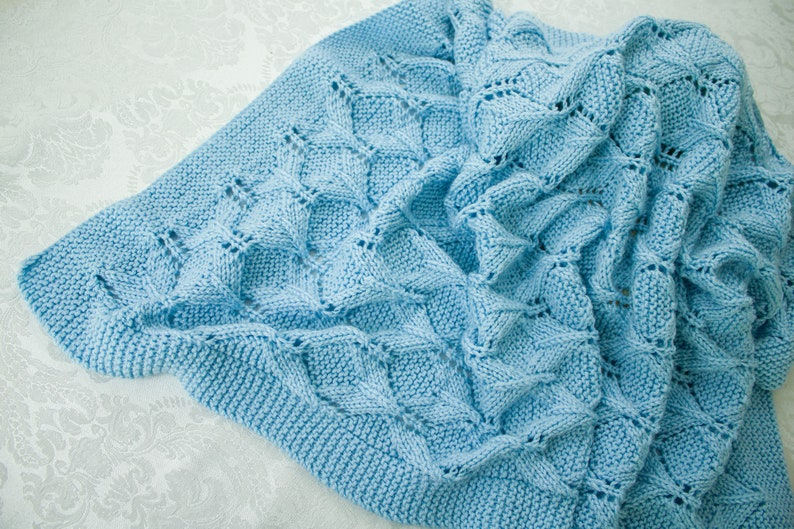 Hand Knit Baby Blanket  Baby Afghan Blue Haze