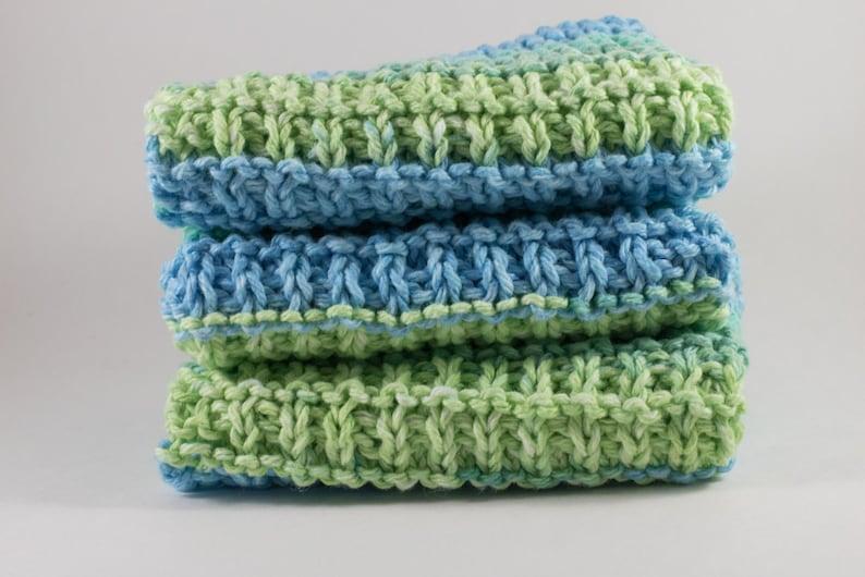 Hand Knit Dishcloth Set of 3  Hand Knit Washcloth  Ocean image 0
